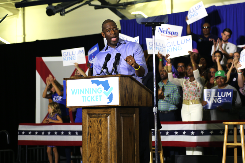 Tallahassee Mayor Andrew Gillum speaking at a rally at North Florida University on Monday, October 20, 2018.