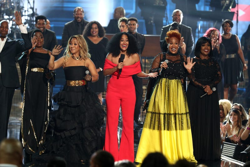 (L-R) Erica Campbell of Mary Mary, Tracee Ellis Ross, Tina Campbell of Mary Mary, and CeCe Winans speak onstage during the 2018 American Music Awards at Microsoft Theater on October 9, 2018 in Los Angeles, California.
