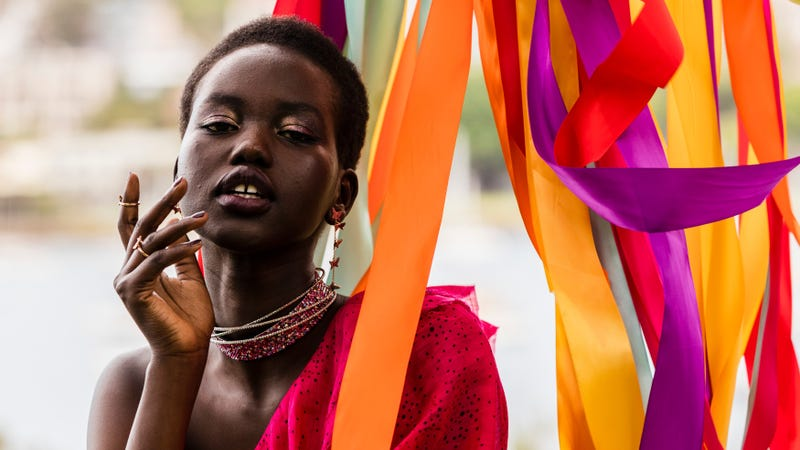 Adut Akech attends the Swarovski Rainbow Paradise Spring Summer 18 Collection Launch on November 24, 2017, in Sydney, Australia