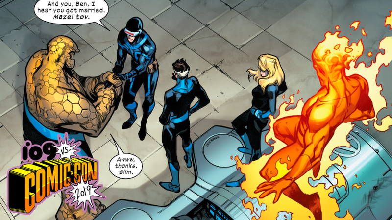 Cyclops making small talk with the Fantastic 4.