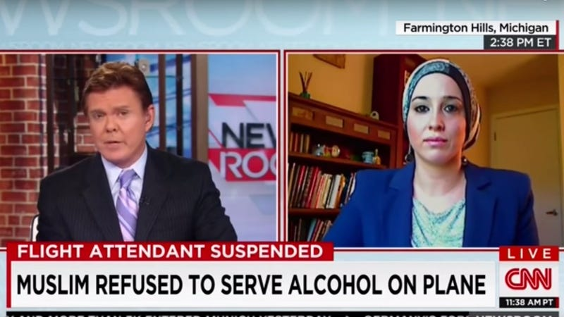 Illustration for article titled Muslim Flight Attendant Is Suspended, May Be Fired for Refusing to Serve Alcohol