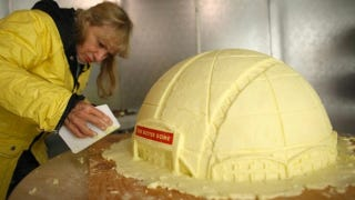 Illustration for article titled Finally, Someone Built The New Sonics Arena Out Of 110 Pounds Of Butter