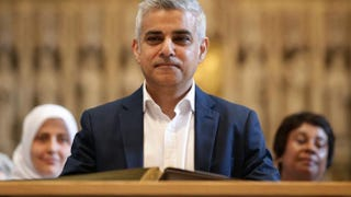 Sadiq Khan attends an official signing ceremony at Southwark Cathedral in London as he begins his first day as the newly elected mayor of the city on May 7, 2016.Yui Mok-WPA Pool/Getty Images