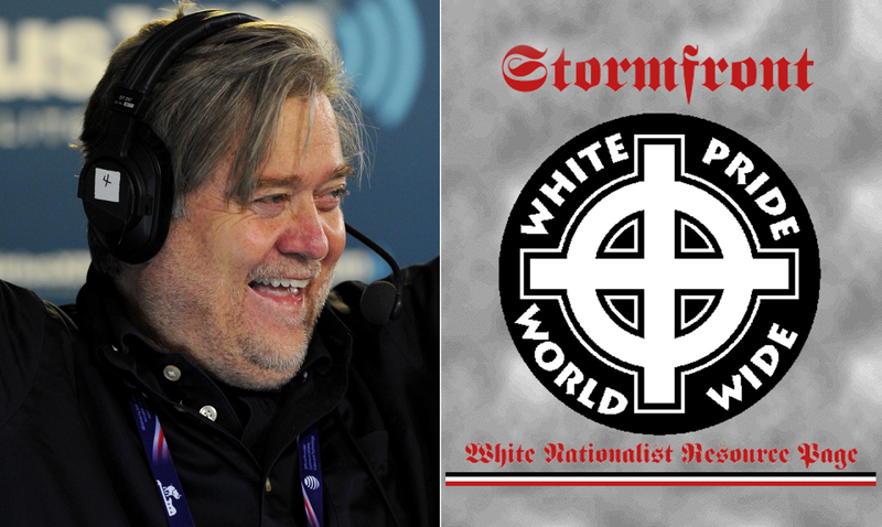 Left: Photo of Steve Bannon by Ben Jackson/Getty Images. Right: Screengrab of Stormfront.org