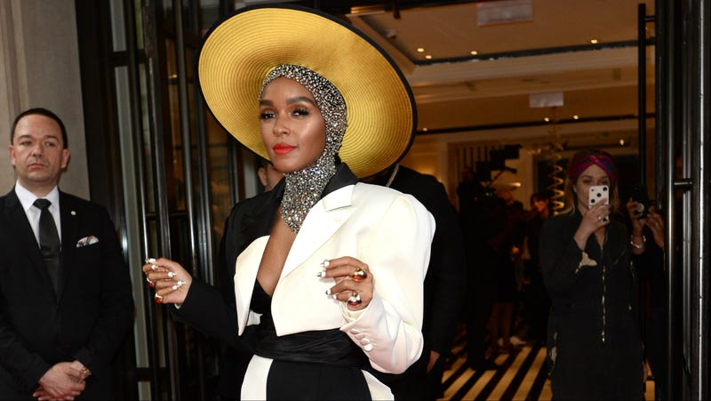 Janelle Monáe departs for the 2018 Met Gala from the Mark Hotel on May 7, 2018, in New York City.