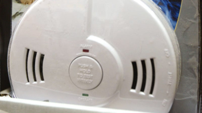 A dual Smoke and Carbon Monoxide alarm is displayed in a Home Depot store February 19, 2004 in Mount Prospect, Illinois.