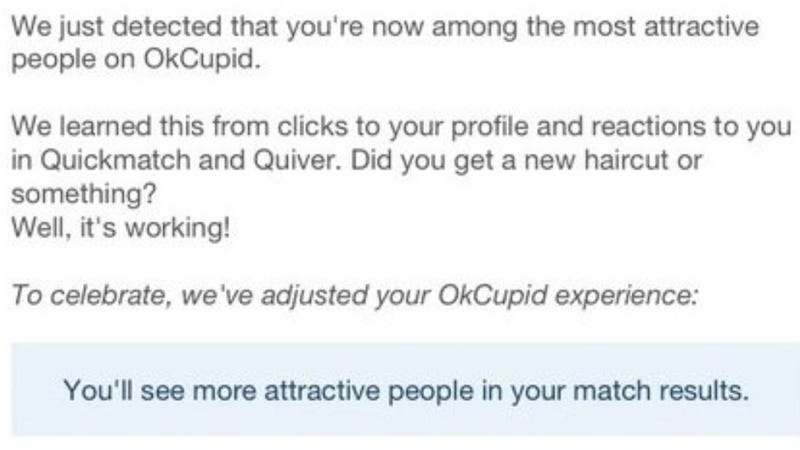 Illustration for article titled OKCupid Lures Users With Shameless, Probably Meaningless Flattery