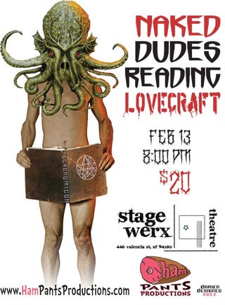 """Illustration for article titled Equality in sexy book reading achieved with """"Naked Dudes Reading Lovecraft"""""""