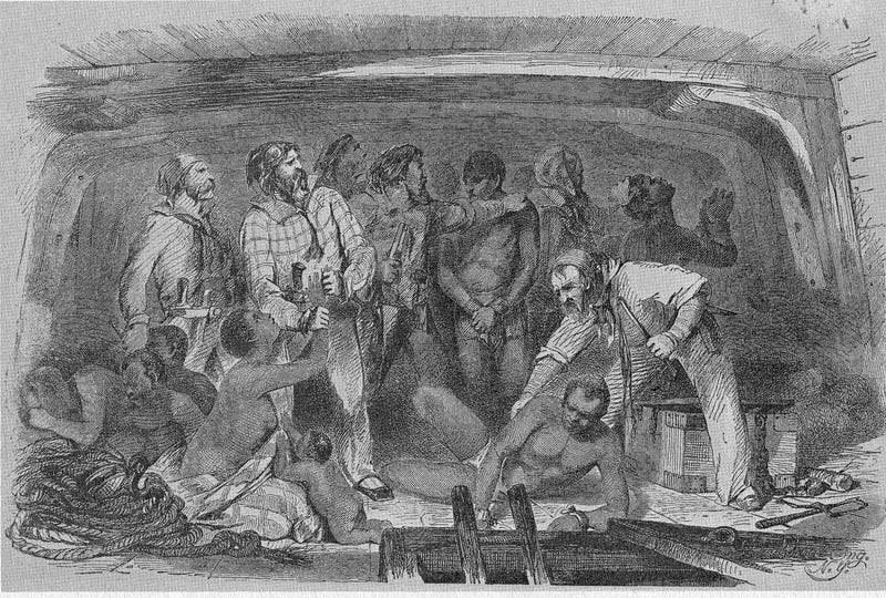 An undated illustration depicting the cargo hold of a slave ship (AP Images)