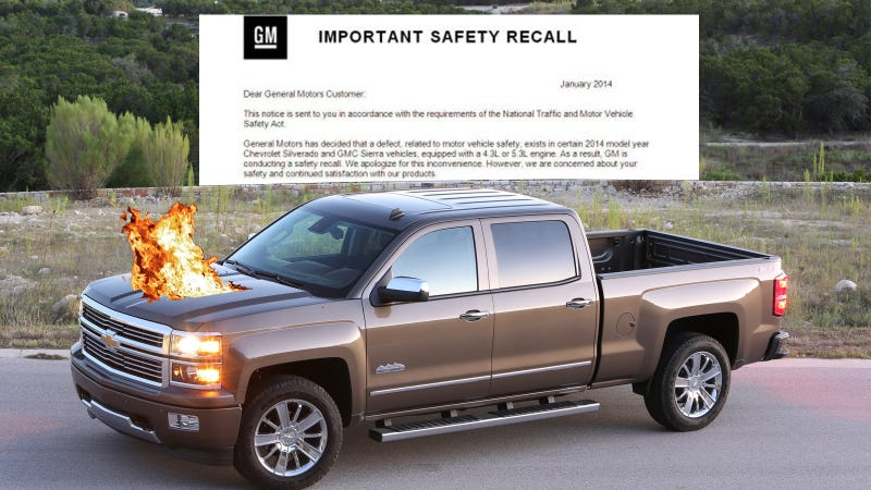 Illustration for article titled Silverado Owner Gets Recall Notice, Truck Promptly Catches Fire