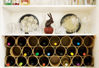 Make A Wine Rack Out Of Mailing Tubes