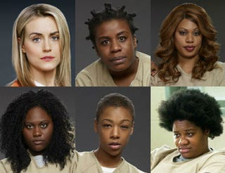 Top row: Piper (played by Taylor Schilling); Crazy Eyes (Uzo Aduba); Sophia (Laverne Cox). Bottom row: Taystee (Danielle Brooks); Poussey (Samira Wiley); Black Cindy (Adrienne C. Moore). All images: Netflix.