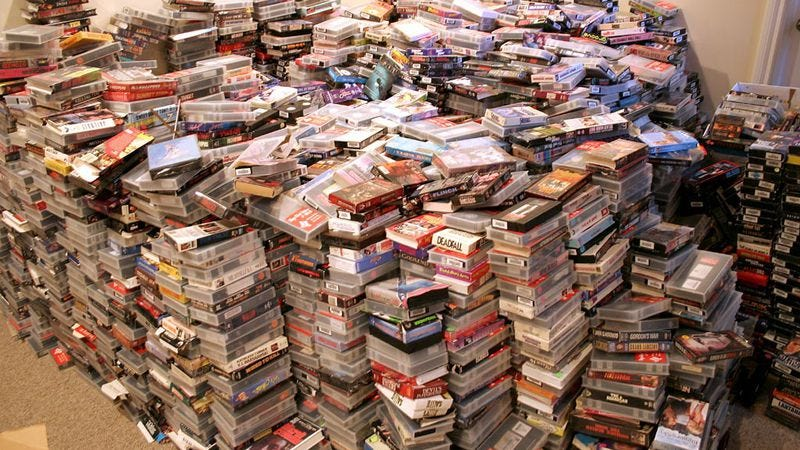 The author tried to purchase this lot of VHS tapes.