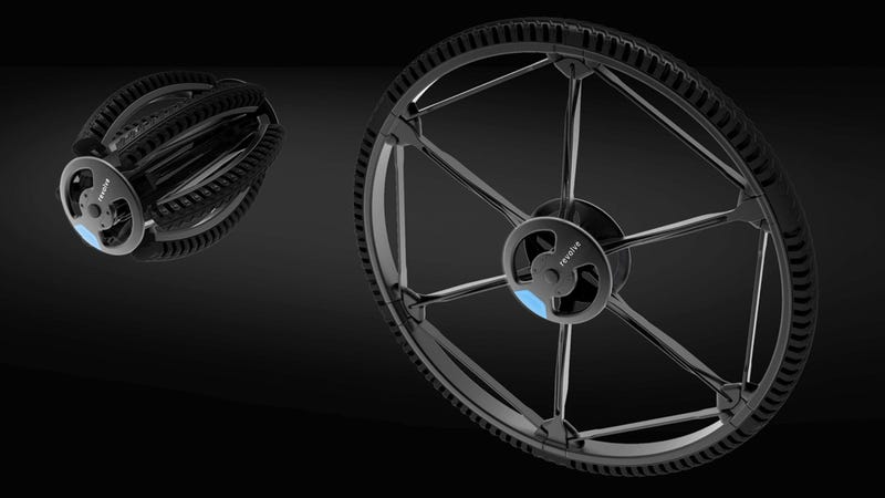 Esta rueda de bicicleta de 26 pulgadas se pliega a un tercio de su tamaño en un solo movimiento