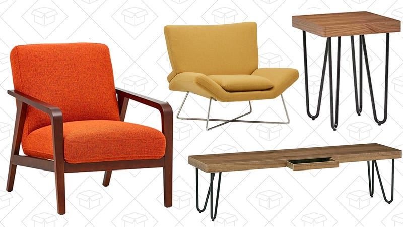 "Rivet Hairpin Wood and Metal Short 15.7"" Console Table 