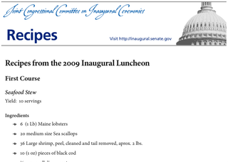 inaugural luncheon recipes available as free download