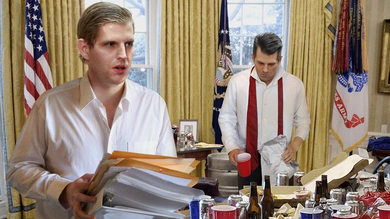 The Trump boys cleaning up the White House.
