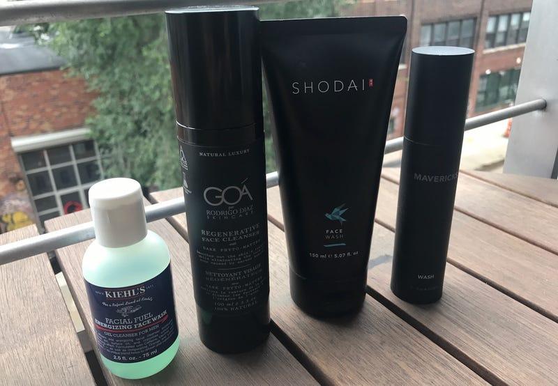 Left to right: Kiehl's Energizing Face Wash, GOA Regenerative Face Cleanser, Shodai Face Wash, Mavericks Wash