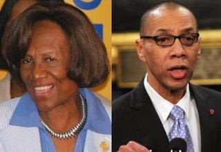 Opposing views: New York State NAACP's Hazel Dukes and New York CityEducation Department's Dennis Walcott (Getty Images)