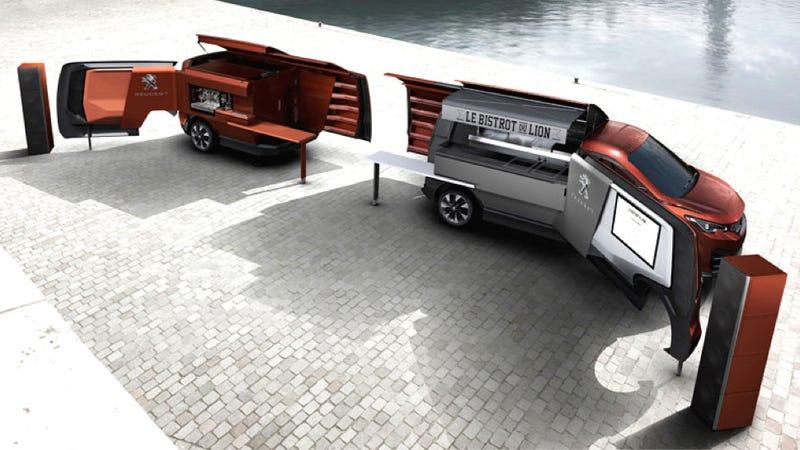 Peugeots Idea Of A Futuristic Food Truck Is Fancy Folding Minivan
