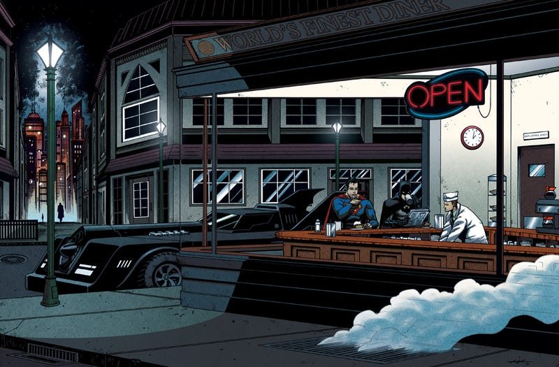 Illustration for article titled Batman and Superman are Edward Hopper's Nighthawks