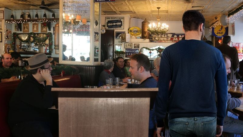 Illustration for article titled Man To Continue Slowly Drifting Into Middle Of Restaurant Until Host Redirects Him