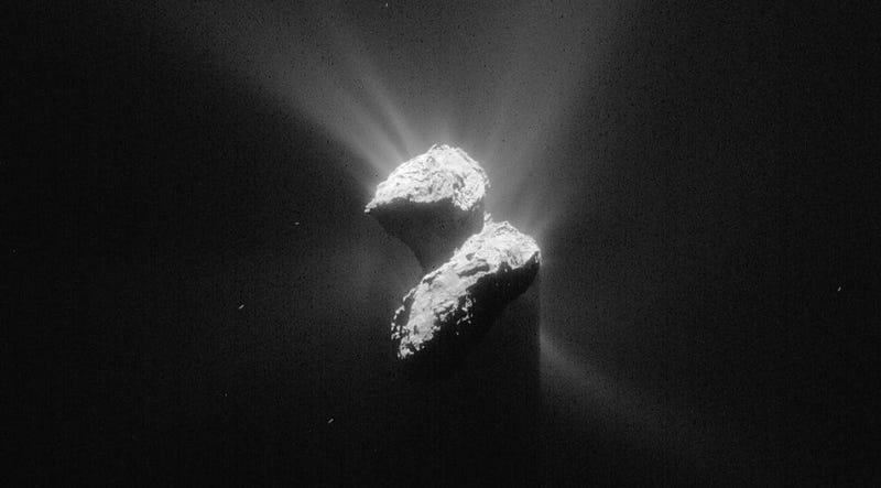 """Illustration for article titled Descubren por qué el cometa de Rosetta tiene esa peculiar forma de """"patito de goma"""""""