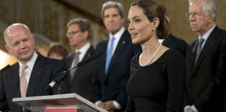 Actress Angelina Jolie speaks at the G8 meeting in London last month. (WPA Pool/Getty Images News)