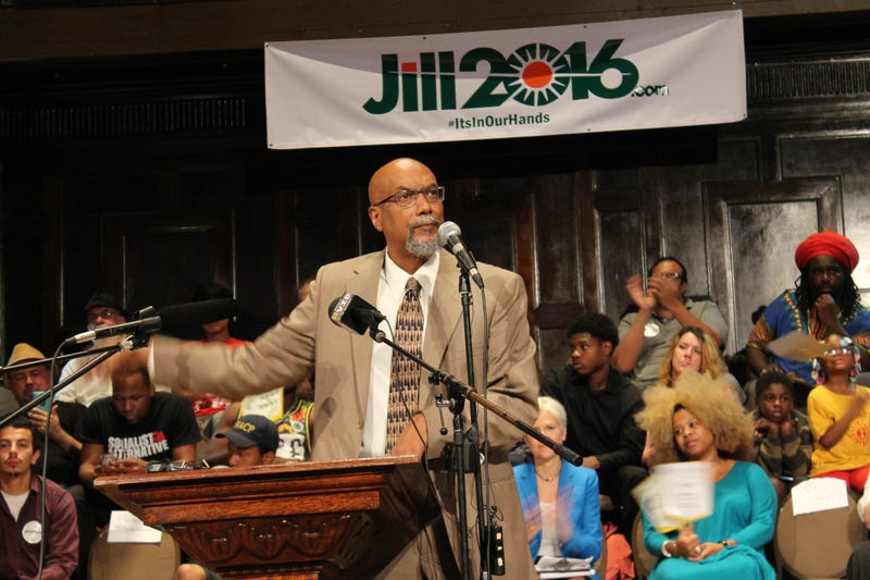 Green Party vice presidential candidate Ajamu Baraka speaks before introducing Green Party presidential candidate Jill Stein at a rally Sept. 8, 2016, in Chicago. DEREK R. HENKLE/AFP/Getty Images