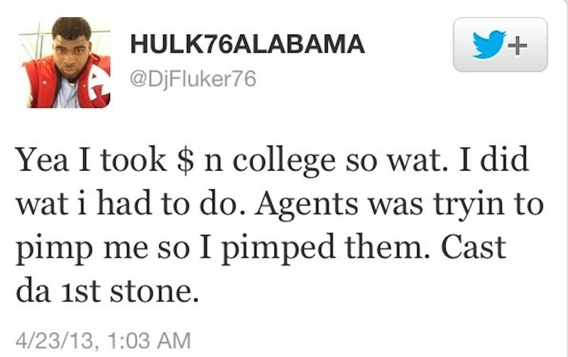 Illustration for article titled Alabama OT D.J. Fluker Tweets He Took Money In College