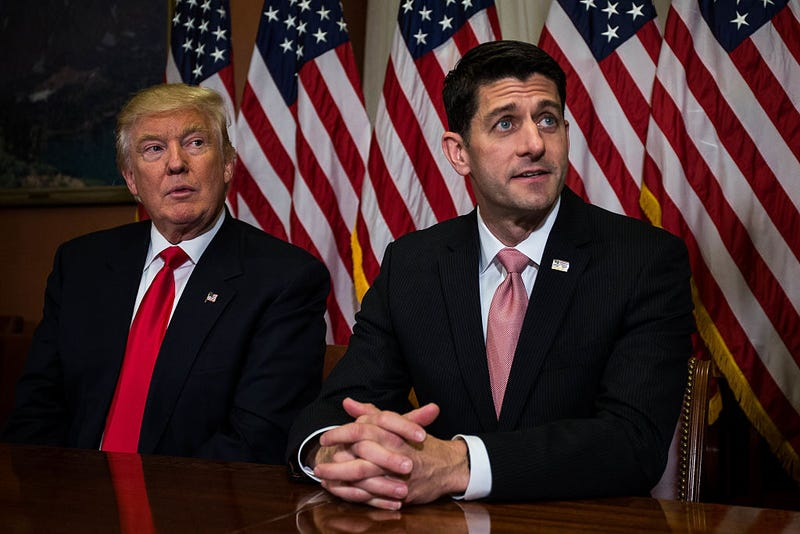 President-elect Donald Trump meets with House Speaker Paul Ryan (R-Wis.) at the U.S. Capitol for a meeting Nov. 10, 2016, in Washington, D.C. Zach Gibson/Getty Images