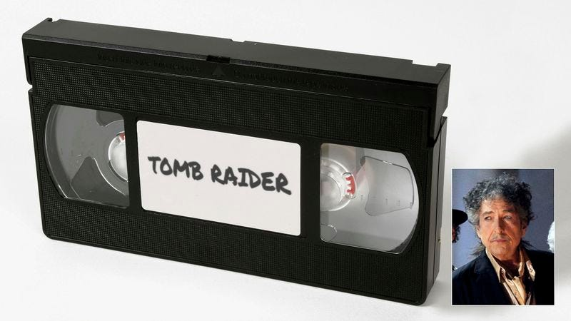 Illustration for article titled A Masterpiece Unearthed: Bob Dylan's VHS Recording Of 'Tomb Raider' Has Resurfaced!