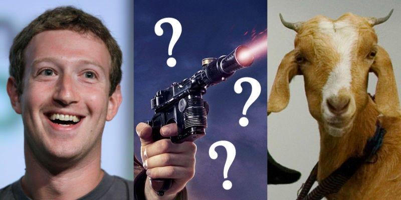 """Illustration for article titled Mark Zuckerberg mató a una cabra con una """"pistola láser"""" y se la sirvió de cena al CEO de Twitter"""