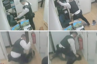 Surveillance footage captured a 2012 incident in which Officer James Kiddie assaulted Sarah Reed while she was being held at a prison on shoplifting charges. In a separate incident, Reed was found dead in a prison cell Jan. 11, 2016.Twitter