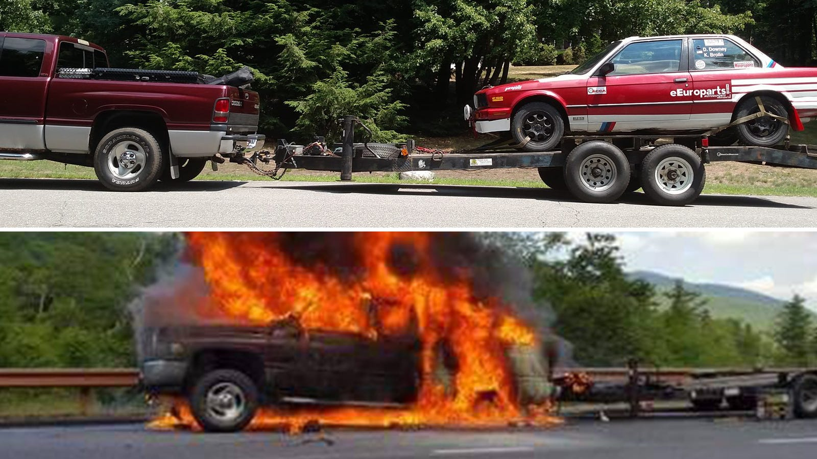 rally team undeterred by minor issue of their entire truck burning down. Black Bedroom Furniture Sets. Home Design Ideas