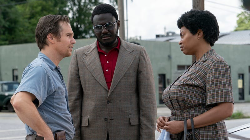 Sam Rockwell, Babou Ceesay and Taraji P. Henson in a scene from The Best of Enemies