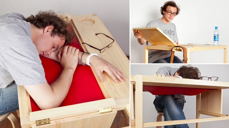 Illustration for article titled Secret Sleeping Desks Should Be Installed in Every College Library
