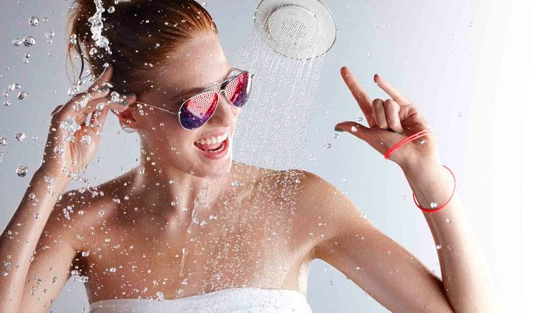 """""""Hey, this musical shower head really ROCKS."""""""