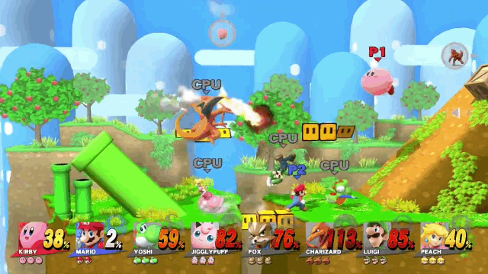Así de caótico es Super Smash Bros para 8 jugadores