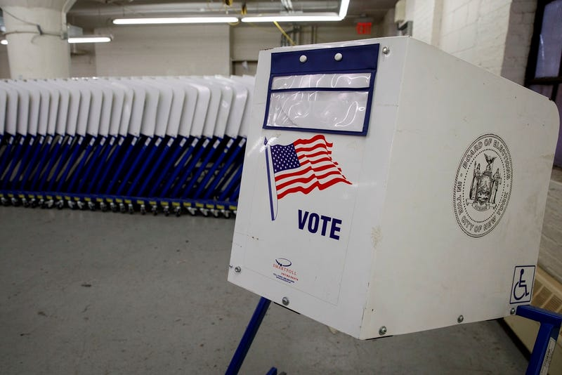 A polling place in the Bronx gets ready for Tuesday (Photo by Drew Angerer/Getty Images)