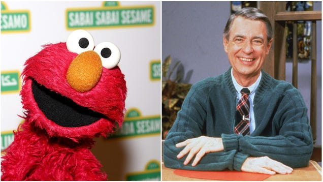 Why not punch yourself in the gut with this picture of Elmo looking sadly at Mr. Rogers' old sweater?