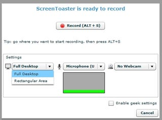 Illustration for article titled ScreenToaster Records Screencasts and Audio, No Software Required