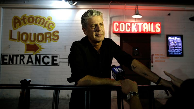 Anthony Bourdain at the 'Parts Unknown Last Bite' Live CNN Talk Show in Las Vegas in 2013.