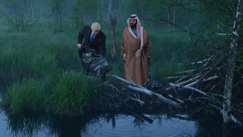 Illustration for article titled 'We Will Never Speak Of This Again,' Says Trump To Mohammed Bin Salman As They Dump Khashoggi's Body Into New Jersey River