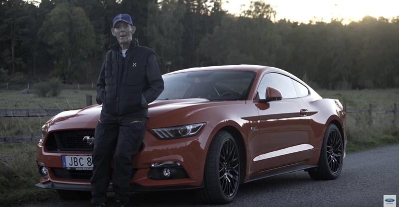 Illustration for article titled This 97 Year-Old Swedish Bad Ass Drives A Ford Mustang GT