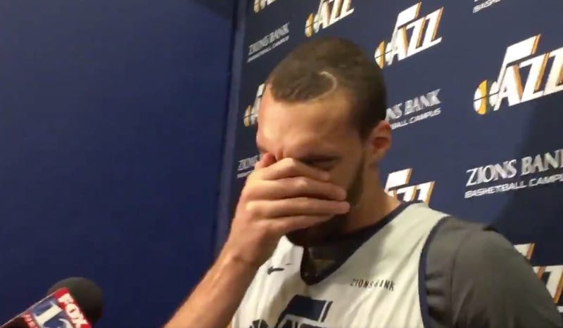 Illustration for article titled Rudy Gobert Breaks Down In Tears While Talking About His All-Star Snub