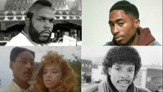 Top row: Mr. T's muttonchops; Tupac's hard-parted fade. Bottom row: Tisha Campbell-Martin's feathered bangs and Eriq La Salle's Jheri curl.Top row: YouTube screenshot; IMDb. Bottom row: YouTube screenshot; IMDb.