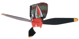Illustration for article titled P40 Tigershark Warbird Ceiling Fan, Piloted by Wrong-Way Corrigan