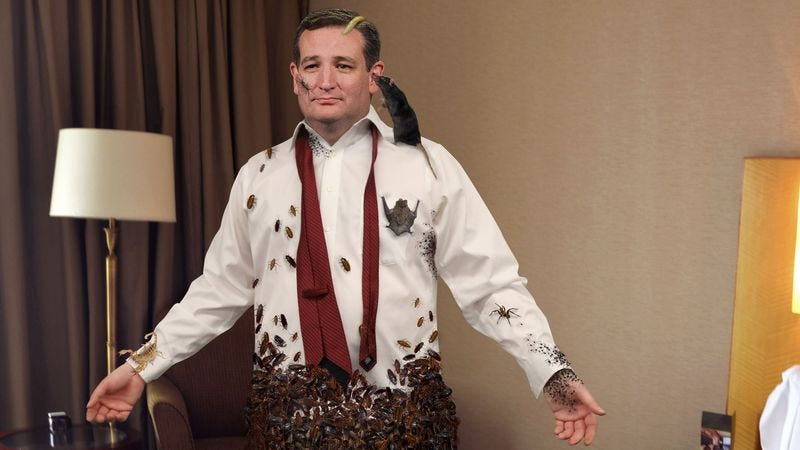 A phalanx of obedient cockroaches press the creases out of Ted Cruz's shirt while a mass of ticks fasten the candidate's cufflinks.