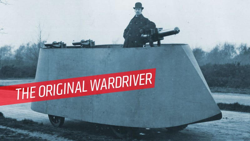 Illustration for article titled The First Armored Car Was This Terrifying War-Making Machine